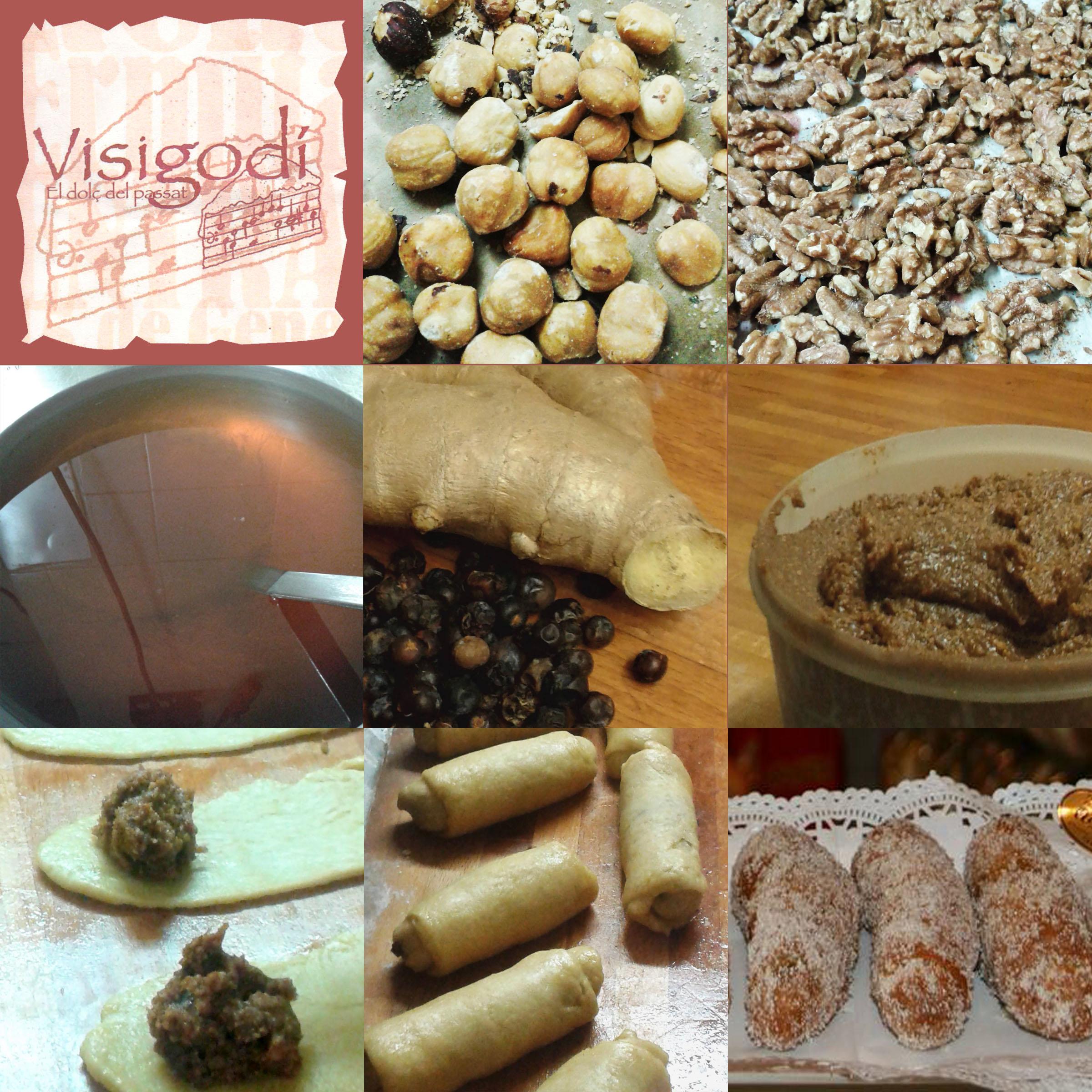 Mosaïc de 9 fotos que mostren els componets i el procés de fabricació dels visigodins